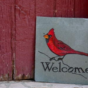 Carved Slate Cardinal Welcome Sign