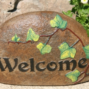 Hand-Painted Carved Welcome Stone